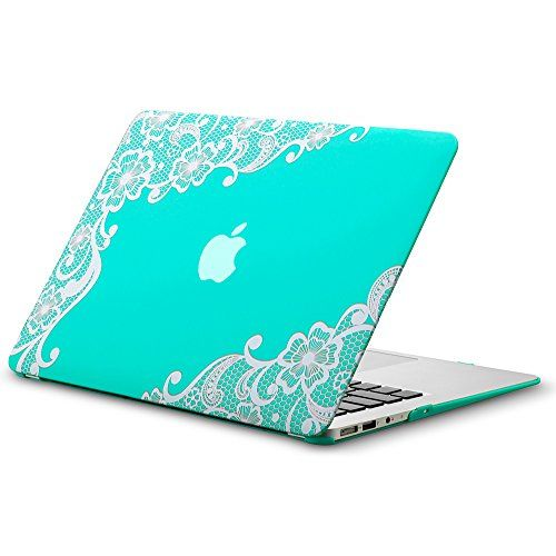 """Kuzy - AIR 13-inch Lace TEAL Hot BLUE Rubberized Hard Case for MacBook Air 13.3"""" (A1466 & A1369) (NEWEST VERSION) Shell Cover - Lace TEAL Kuzy http://www.amazon.com/dp/B00O5L3F52/ref=cm_sw_r_pi_dp_ZA-yub0F9RPR3"""