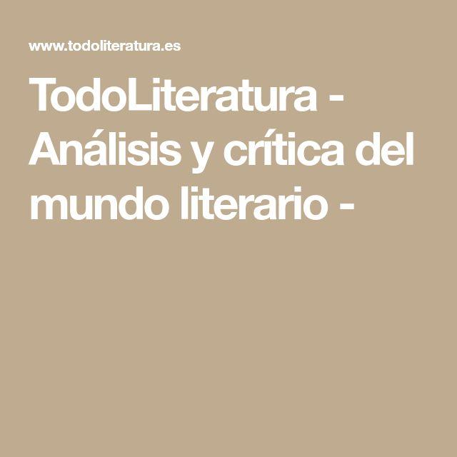 TodoLiteratura - Análisis y crítica del mundo literario -