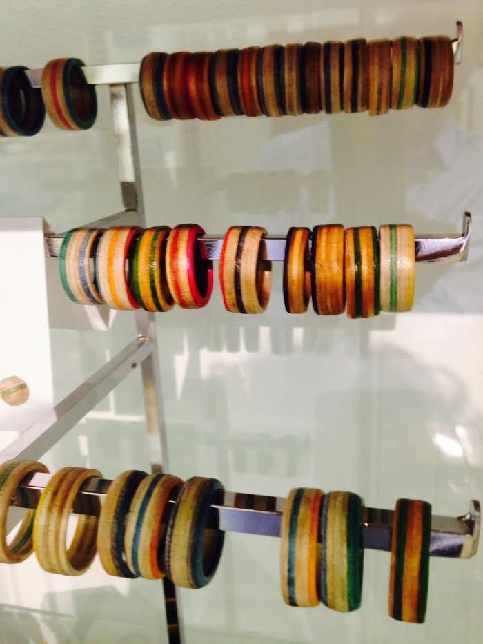 Recycled skateboard rings for Christmas.  Drop by After Stonewall at 370 Bank Street in Ottawa.  Only $20 each