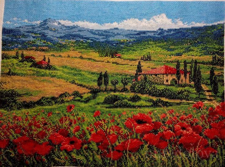 Теплая, летняя вышивка с цветущими маками от #Риолис #Тоскана Схему вышивки забираем тут   ✅http://stitchlike.ru/fzkq  #stitchlike_riolis #маки
