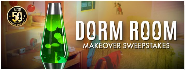 It's the 50th Anniversary of the Lava Lamp! To celebrate, Spencer's is giving away a psychedelic dorm room makeover with a $2,000 Ikea Gift Card and 2 Lava Lamps to complete the look.  Plus, one winner every day receives a Lava Lamp.  Good luck!