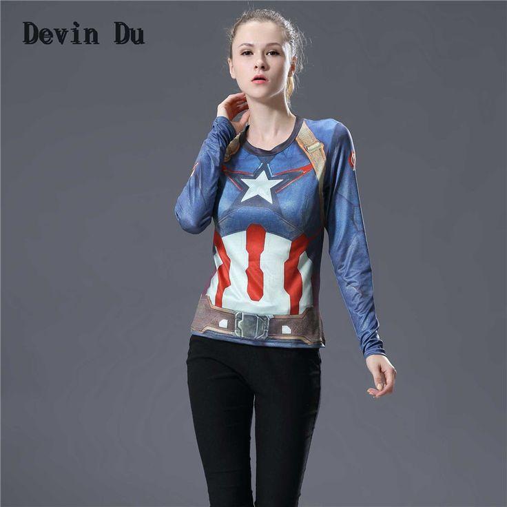 Deivn Du Vrouwen T-shirt Bodys Armour Marvel kostuum superman/batman T-shirt Lange Mouw Meisje Fitness Panty Compressie tshirts