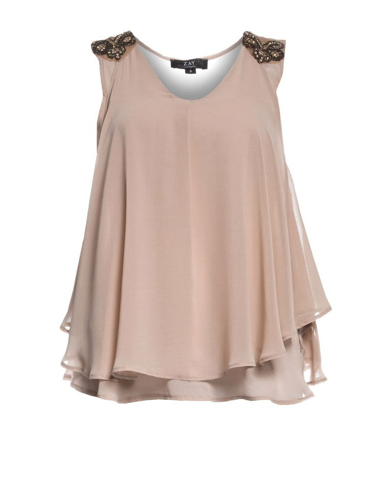 Beige chiffon top with embroidered sleeves