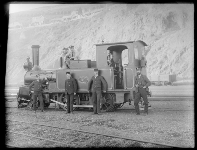 D Class steam locomotive no 46, showing five unidentified railway workers, including driver, probably Christchurch district