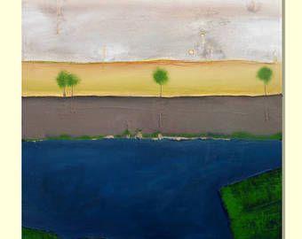 Tableau Abstrait Peinture Acrylique Quatre Arbres Tableaux