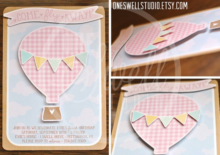 Three Dimensional - Pop Up Hot Air Balloon DIY Printable Birthday Party or Baby Shower Invitation