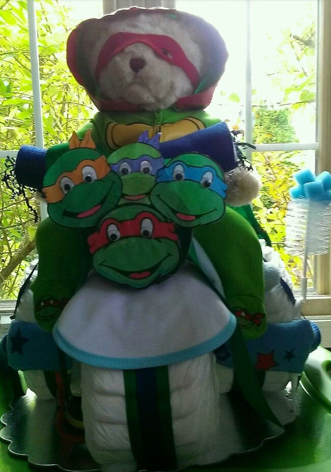 Ninja turtle tricycle diaper cake.  Special order. $65.00.Norma's unique gift baskets.