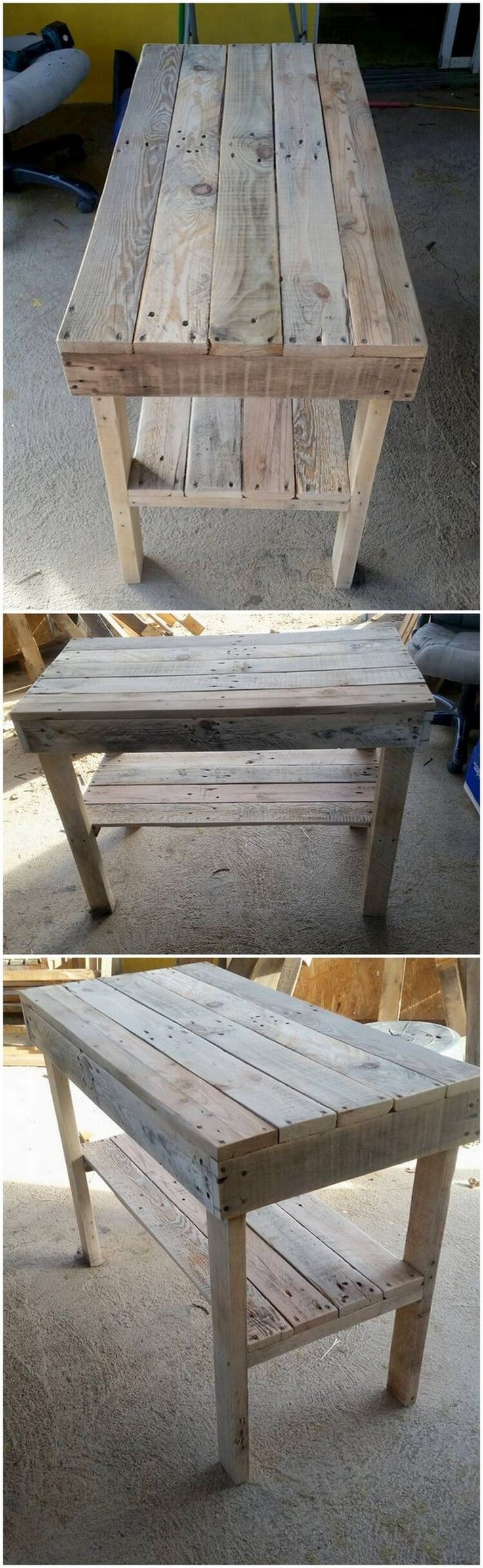 Why to look for a giant table product, when you can arrange at the best in the miniature formations? Think about and have a quick look at this interesting structure of wood pallet table design that do act as the dining table furniture. Overall design is so simply and plain.