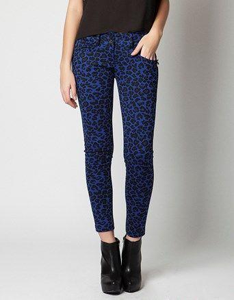 Trousers in 5-pocket styling, leopard print in slim fit.