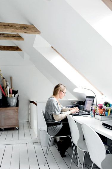 Another clean, white, bright Nordic workspace. Clean neat spaces like this would be so inspiring to make big messes in!  (via Lovenordic Design Blog)