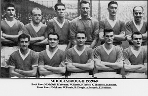 """Middlesbrough FC, 1959/1960 season includes : Edwin """"Eddie"""" Holliday (front row 1st right, Middlesbrough FC, 1957–1962, 134 apps, 17 goals) and Brian Clough (front row 3rd right, Middlesbrough FC, 1955–1961, 213 apps, 197 goals)."""