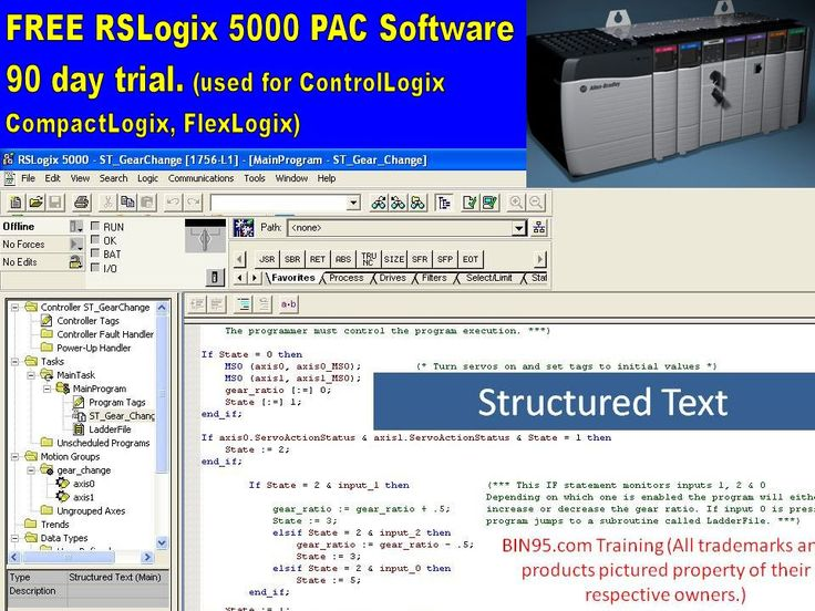 Free RSLogix 5000 PAC software (90 day trial). Used to program Allen Bradley PACs (Controllogix, Compactlogix, Flexlogix) Click picture to go to their site and download)