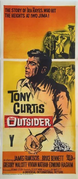 The Outsider original 1961 Australian/NZ Daybill war movie poster, staring Tony Curtis. Available for purchase from our website.