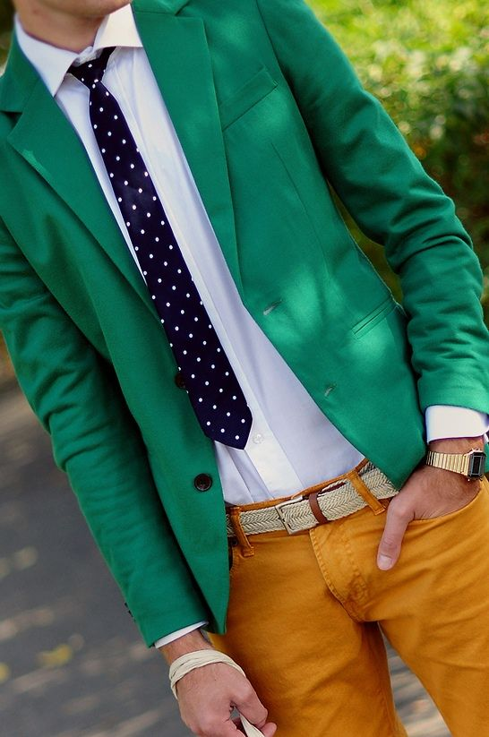 Again, digging on the green blazer.: Men Clothing, Colors Combos, Polka Dots, Spring Colors, Pants, Green Blazers, Outfit, Men Fashion, Bright Colors