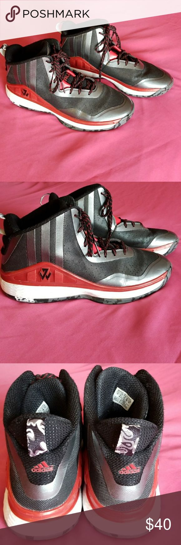 Adidas John Wall basketball shoes Adidas John Wall basketball shoes very gently worn for one season on the basketball court. Size 8.5 adidas Shoes Athletic Shoes