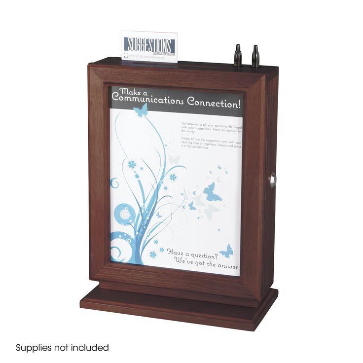 Safco Customizable Wood Suggestion Box - Mahogany
