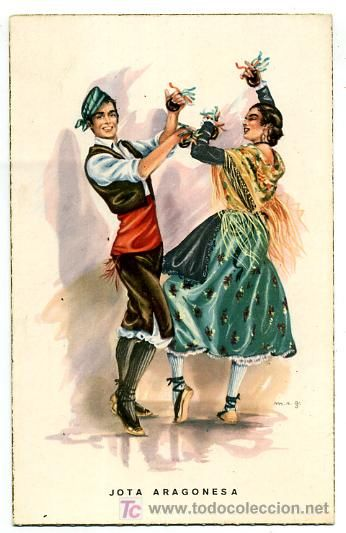 Traditional folk dress of Aragon in northeastern Spain, which once included Barcelona, Sardinia, and Sicily. These dancers perform the Jota in espadrilles.