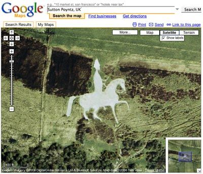 """Top 10 Google Maps Satellite Photos - The Pale Rider in Sutton Poyntz, UK  The Osmington White Horse, outside Sutton Poyntz, UK, is carved into the white chalk on the hillside. These horse-carved shapes are called """"Leucippotomy"""".  Read more: http://www.toptenz.net/top-ten-google-maps-satellite-photos.php#ixzz2Or1NNtgD"""