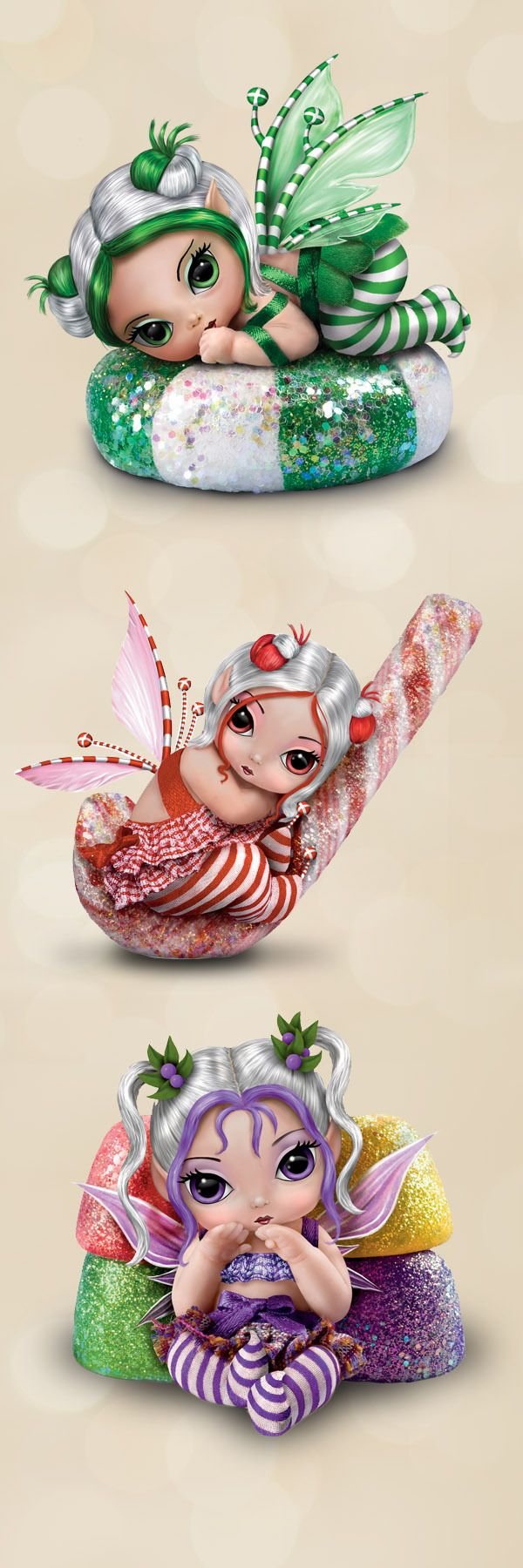 Sweeten up the Christmas season with this festive fantasy art fairy doll collection by acclaimed artist Jasmine Becket-Griffith!