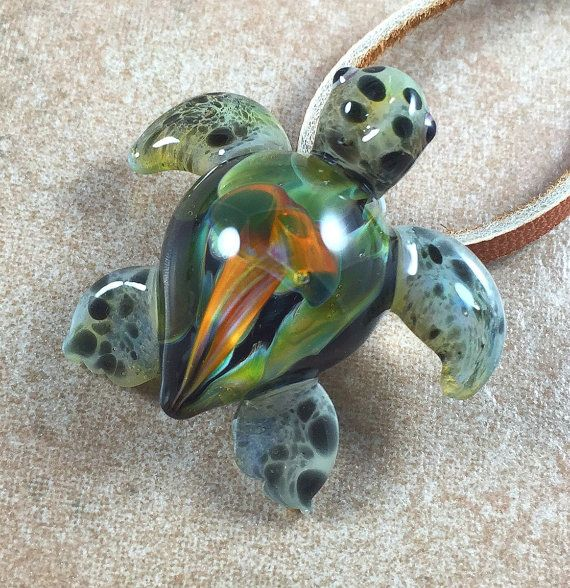 Baby sea turtle necklace glass beads pendant by ryanjesseeglass