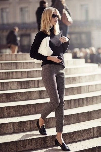 Black sweater, grey tweed style cropped pants and loafers, white clutch - Fashion and Love