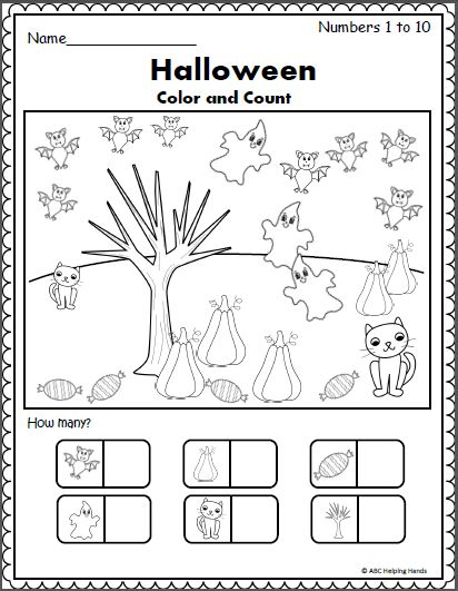 Free Math Worksheet for Halloween Color and count the Halloween pictures to build number recognition and number sense up to 10.