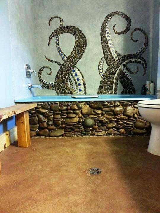 River rock bath and mosaic