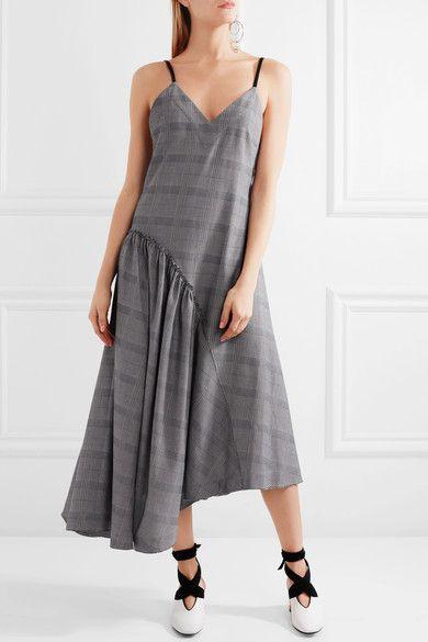 Cédric Charlier - Asymmetric Faux Leather-trimmed Plaid Cotton Dress - Light gray - IT44