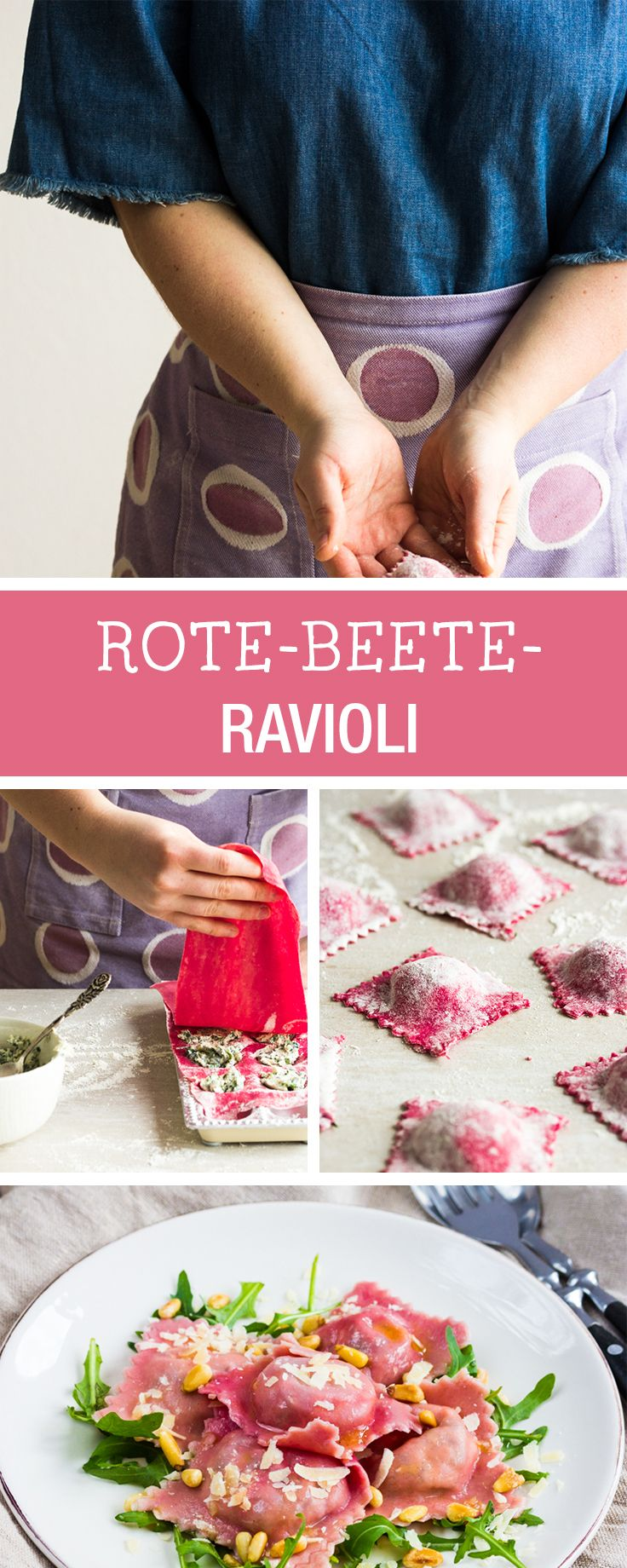 Leckere Herbstküche: Ravioli aus Rote Beete mit Füllung aus Ziegenkäse / fall recipes: homemade beetroot ravioli with goat cheese via DaWanda.com (Baking Pasta Recipes)