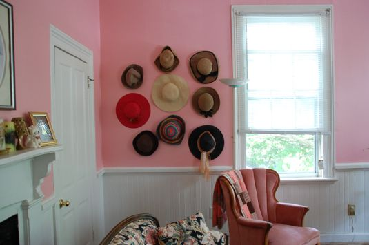 Storage Solution For Hats on wall
