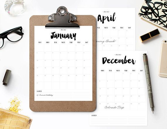 2016 2017 Printable Calendar BRUSHED CHARM by berryberrysweet