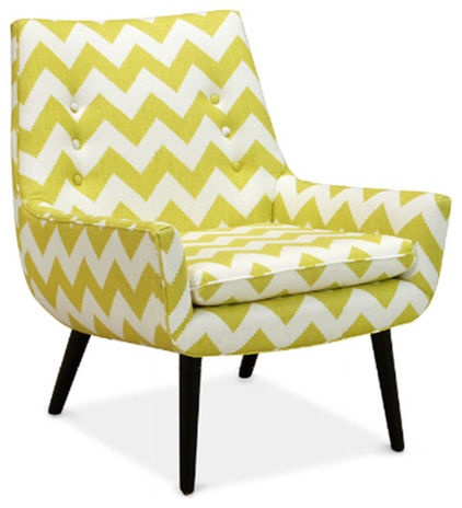 """Mrs Godfrey Chair, Limitless Linden »  The slim and discreet profile of this retro chair from Jonathan Adler keeps with the """"simpler is better"""" approach this fall. A bright chevron print updates it beautifully with just the right touch of pattern. Put two of these chairs by the fire for a chic setup."""
