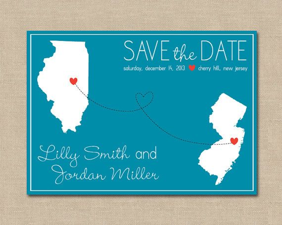 Long Distance Love Save the Date Digital File by OhPrettyBoston, $14.00