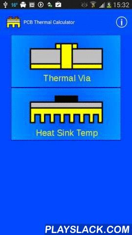 PCB Thermal Calculator  Android App - playslack.com , Calculate the Thermal Resistance of via's in a PCB.Calculate the Junction Temperature of a device or calculate the needed heat sink for a certain Junction Temperature.LIKE and Share us: Facebook: www.facebook.com/androiddesignnlGoogle+: http://gplus.to/androiddesignnl