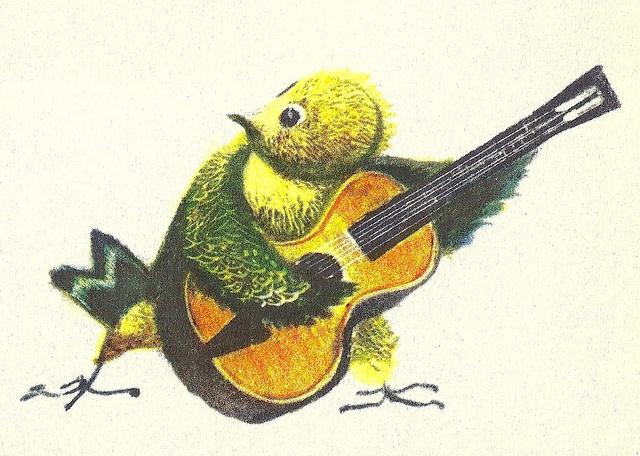 a little bird on guitar, jiri trnka, 1960