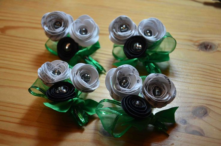Paper boutonnieres with kelly green ribbon available from AJ's Craft Creations. https://www.facebook.com/ajs.craft.creations