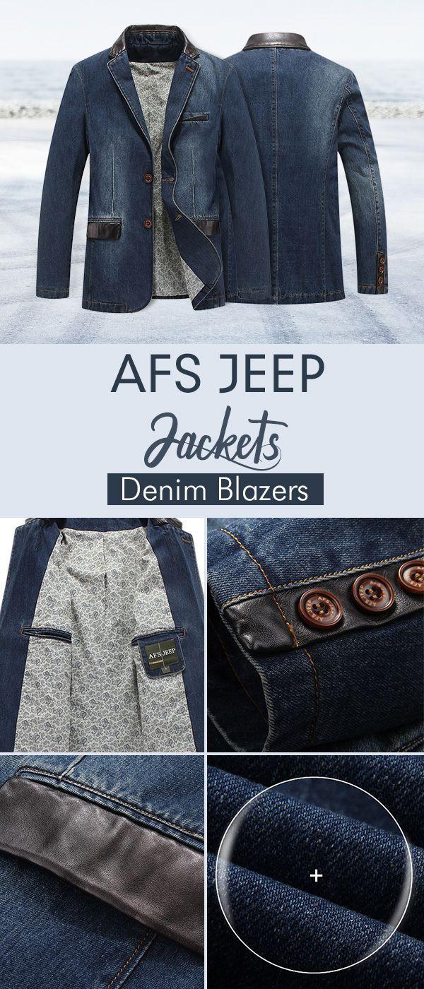AFSJEEP Outdoor Stylish Denim Jackets Blazers