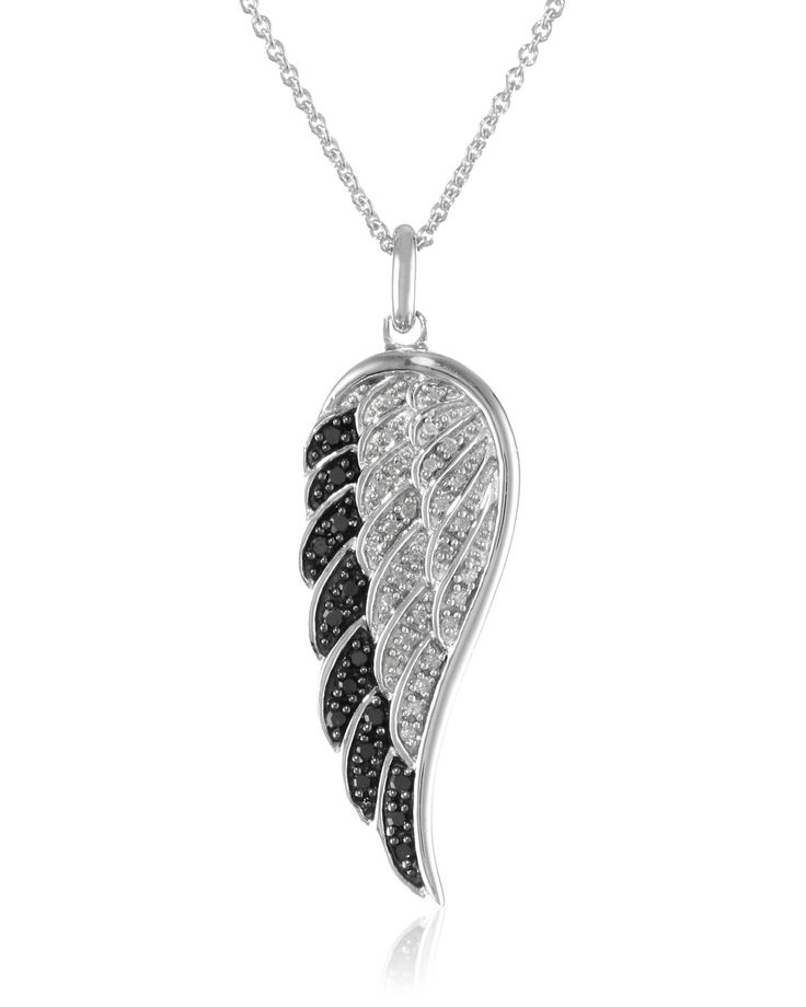 Sterling Silver Black and White Diamond Angel Wing Pendant Necklace
