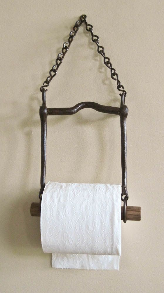 Country Living Rustic Repurposed Horse Bit Toilet Bath Tissue Holder