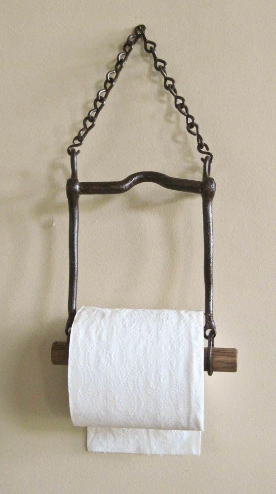 Country Living Rustic Repurposed Horse Bit Toilet Bath Tissue Holder