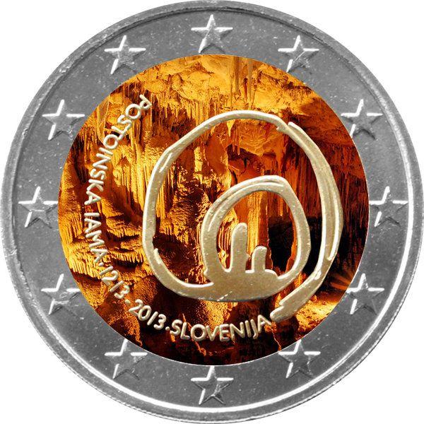 """N♡T.Slowenien 2 Euro """"Höhlen von Postojna"""" 2013 coloriert"""