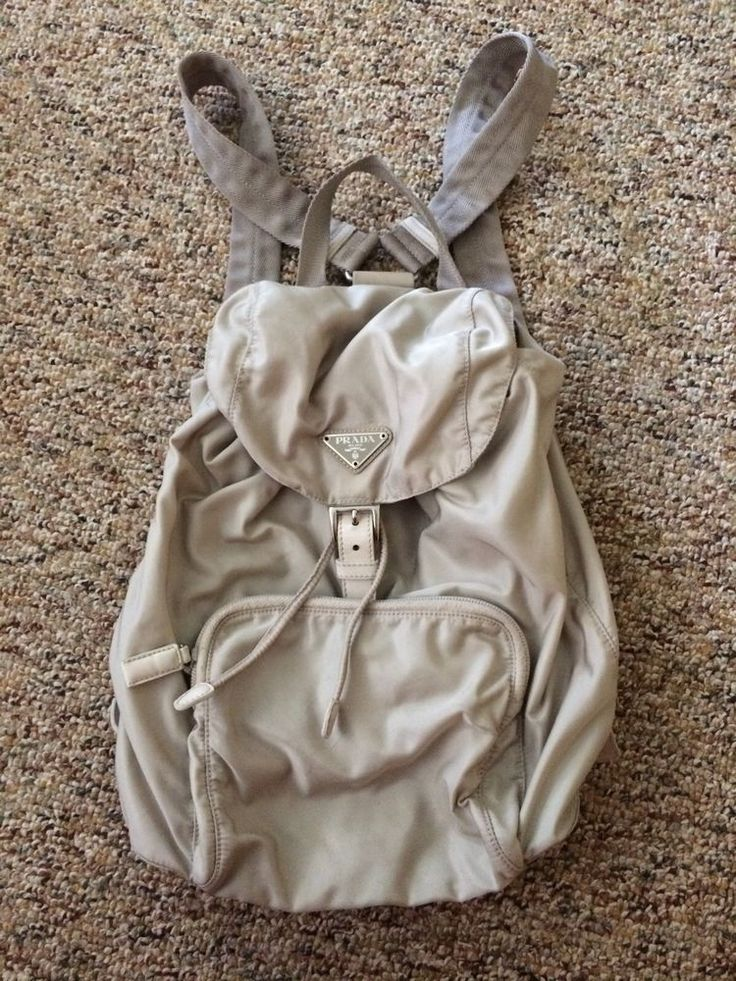 Vintage PRADA MINI-BACKPACK Tan Beige Nylon LEATHER ITALY | Nylons ...