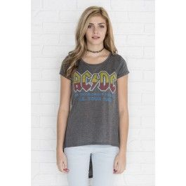 Heather grey high-low AC/DC t-shirt