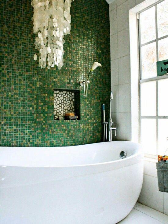 Beautiful green tile bathroom