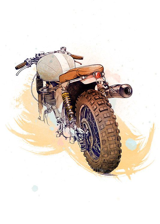 Motorcycle Poster, available at 45x32cm. This poster is printed on matt coated 350 gram paper.