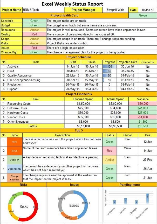Excel Weekly Status Report Template In 2020 Project Management