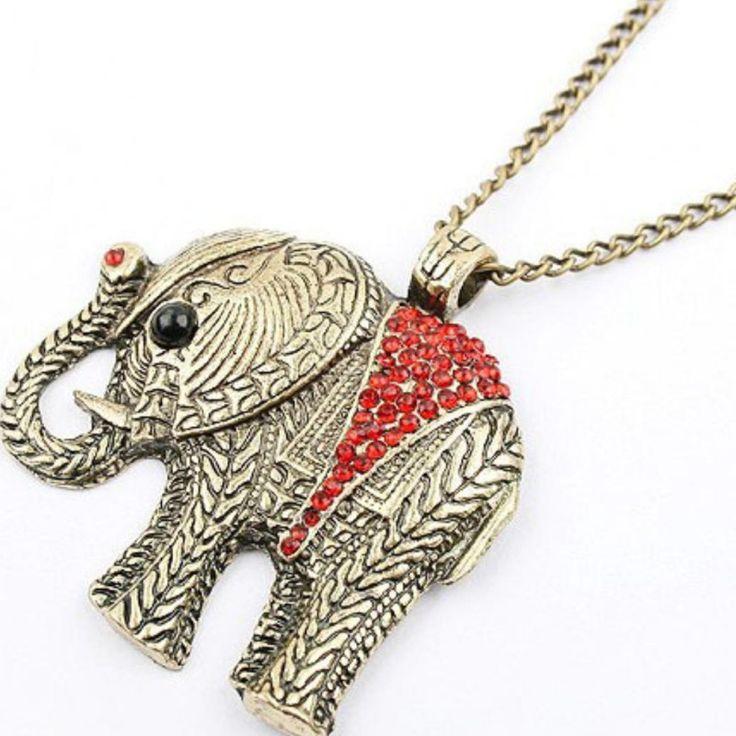 Ketting olifant hanger rode strass