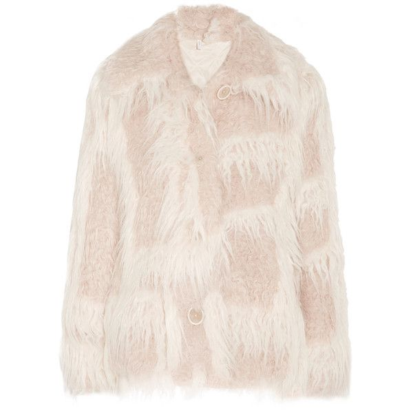 Helmut Lang Helmut Lang - Faux Shearling Coat - Cream (€885) ❤ liked on Polyvore featuring outerwear, coats, plaid coat, tartan coats, faux shearling coat, pink coat and insulated coat