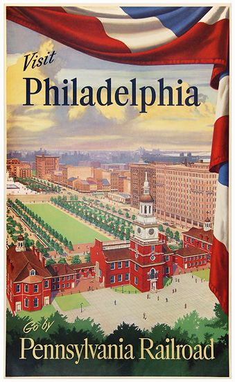 1945 Visit #Philadelphia by Pennsylvania #Railroad, USA vintage travel poster                                                                                                                                                      Mais
