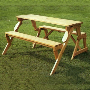 Modbury Garden Bench which converts to a Picnic Table and Benches  - as a picnic table